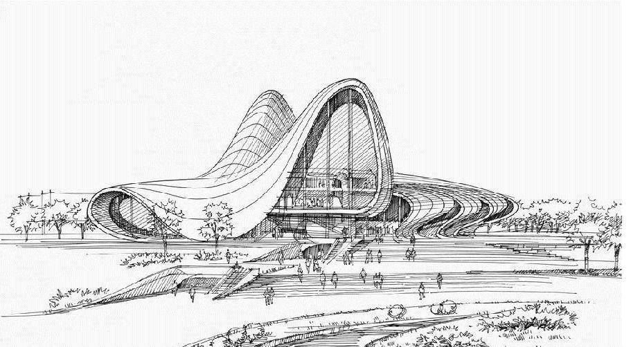 Zaha Hadid Heydar Aliyev Center Architecture Concept Drawings Maquette Architecture Architecture Sketch