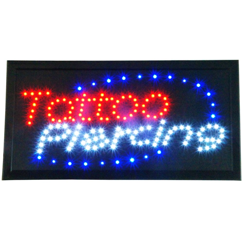 Bright animated led piercing tattoo studio shop parlor