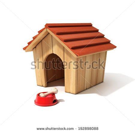 Dog House Bowl And Bone 3d Illustration Stock Photo Hundehuse