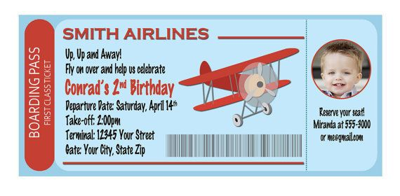 Airplane Boarding Pass Birthday Invitation Digital File You