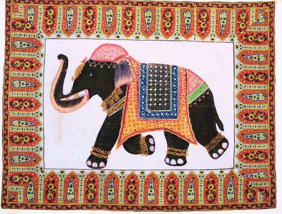 Jaipur Elephant Silk PaintingWall Tapestry Wall by oldsilkroute, $85.00
