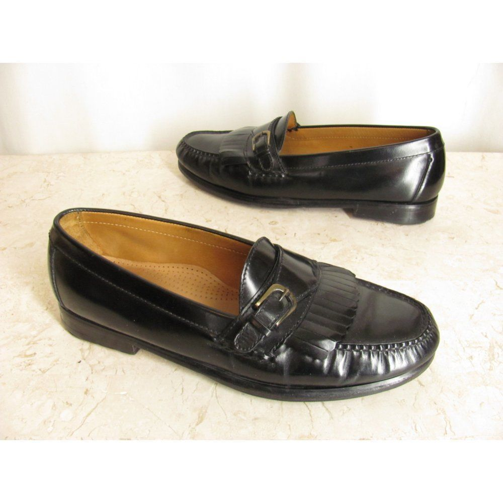 28541804788 Cole Haan Mens Dress Shoes 10 D Black Leather Monk Strap Kiltie Loafers   ColeHaan  LoafersSlipOns  Casual