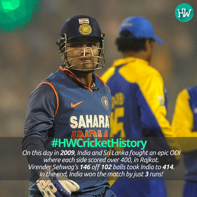 #HWCricketHistory On this day in 2009, India and Sri Lanka encountered in a nail-biting match! #INDvSL #Sehwag