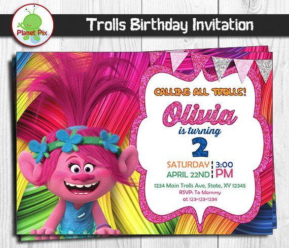 Trolls Movie Birthday Invitation Poppy Party Digital File Printable Or Printed FREE
