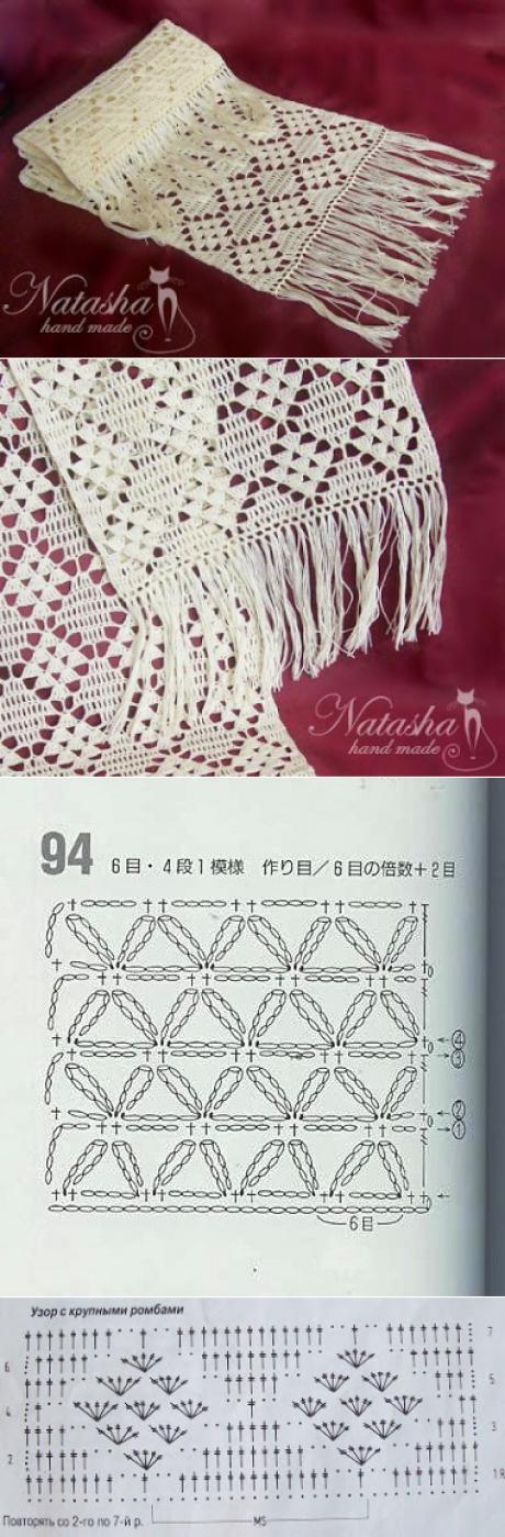Ажурные палантины. | Crochet | Pinterest | Ganchillo, Chal y Tejido