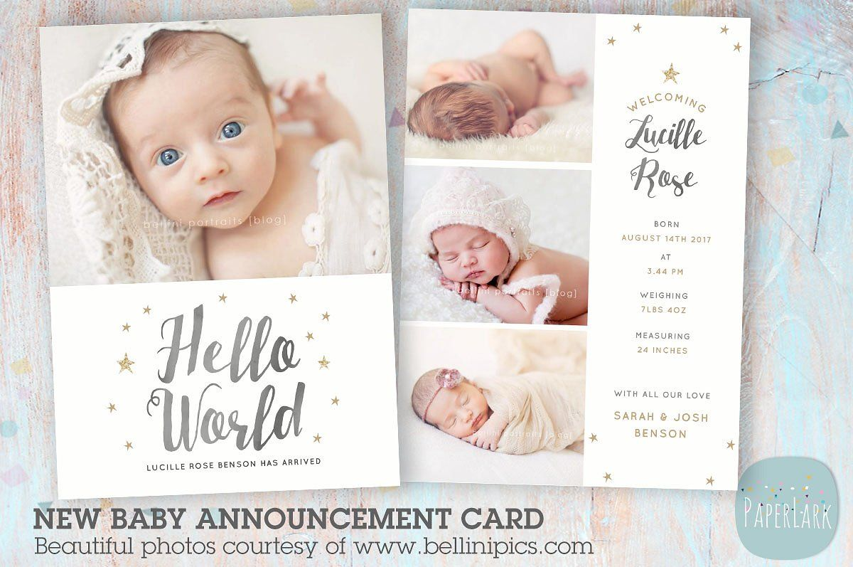 AN009 Newborn Baby Card Announcement By Paper Lark On