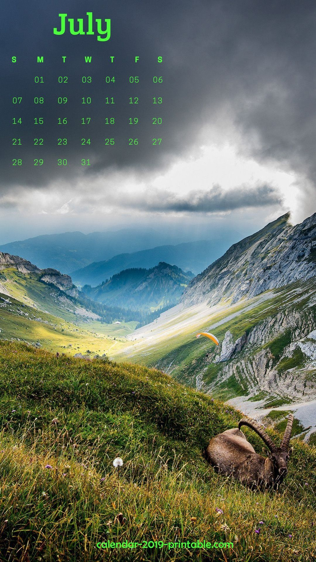 july 2019 iphone calendar nature wallpaper