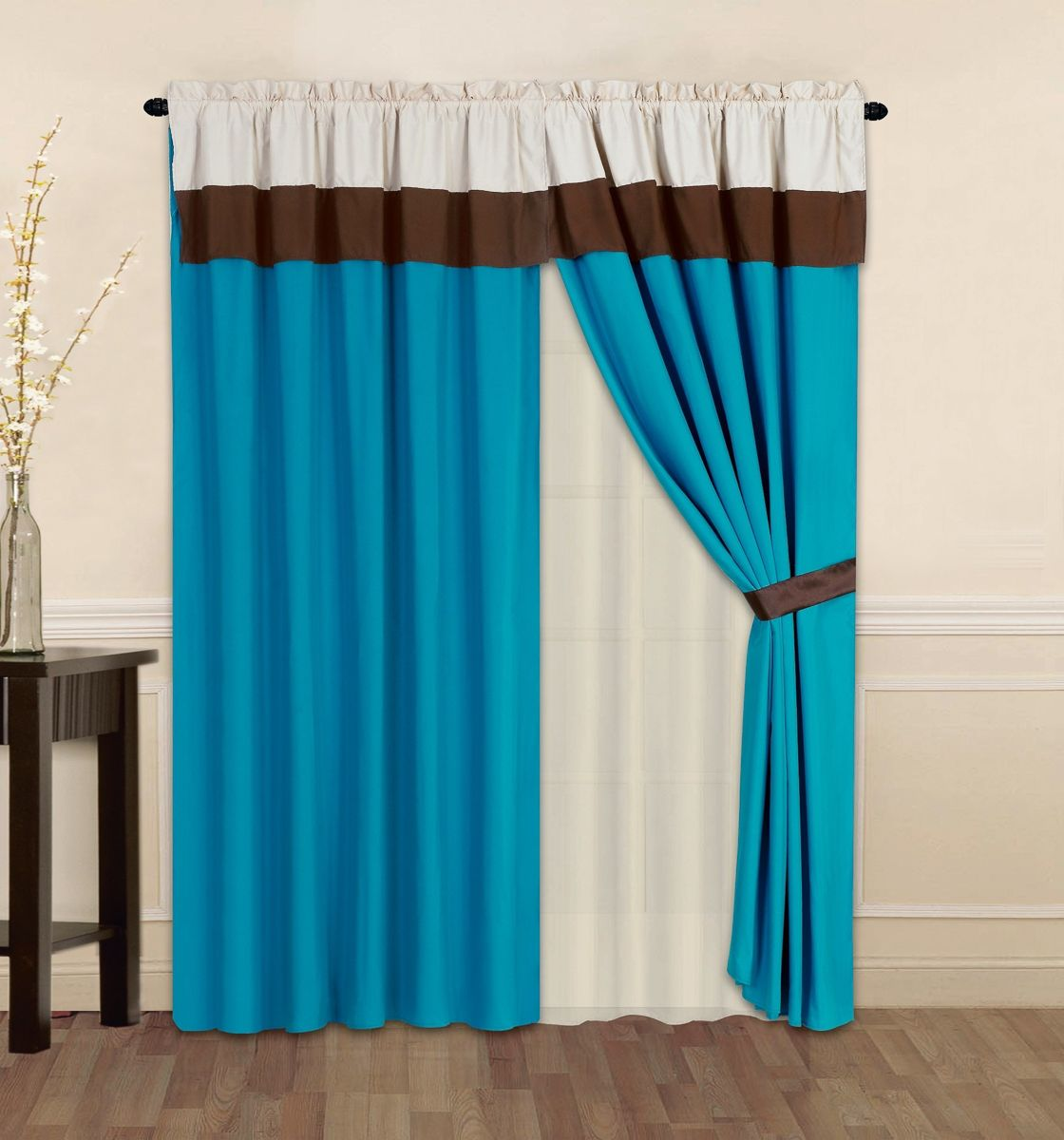 4 window curtain ideas   pc turquoise curtainset  blue curtains homefurnishing