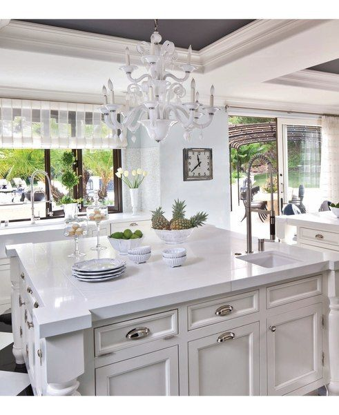 White Italian Glass Chandelier