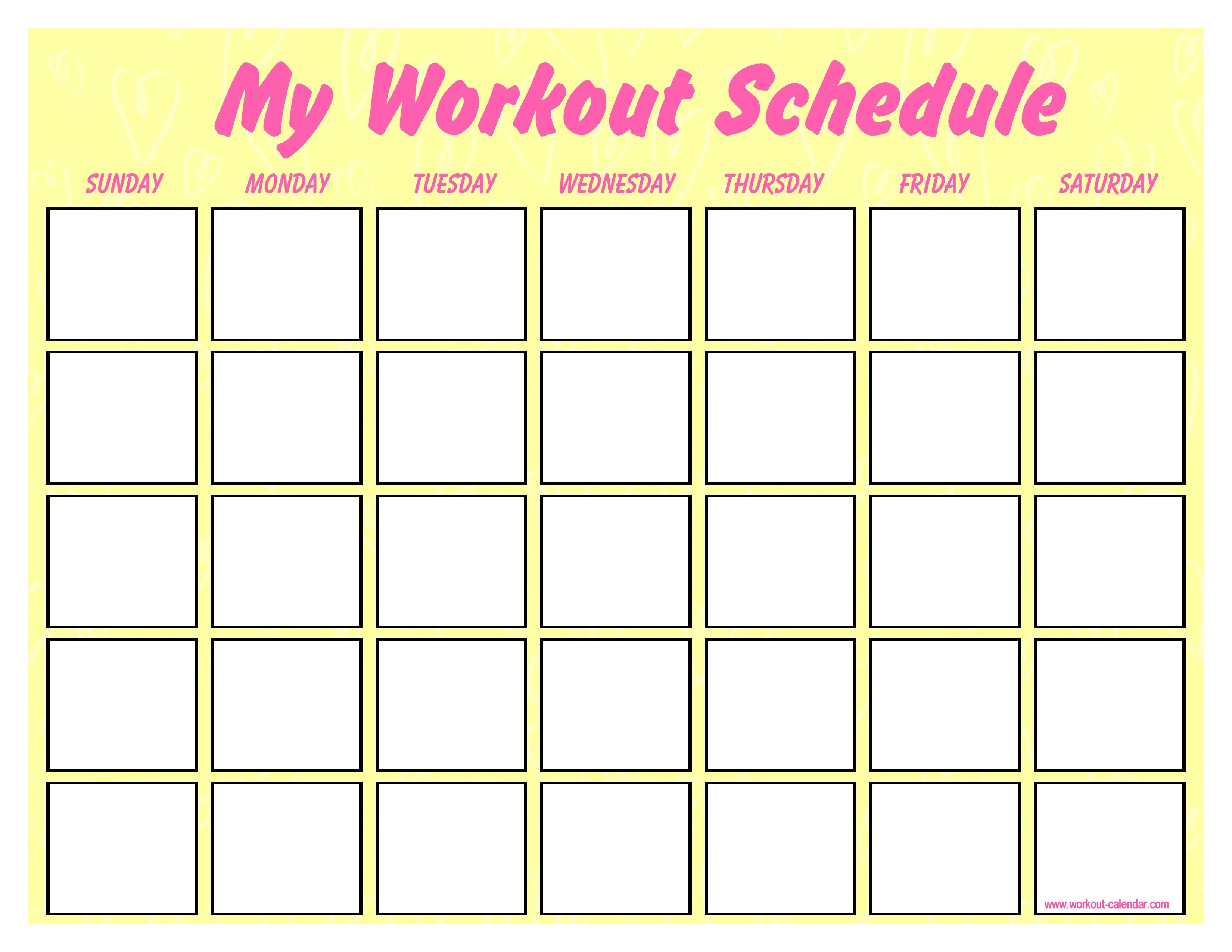 Catch Blank Workout Schedule For Women Workout Schedule
