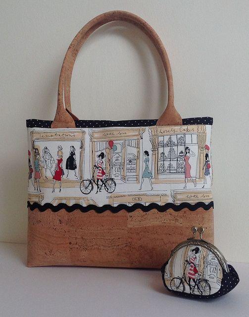Fabric and Cork handbag + matching coin purse