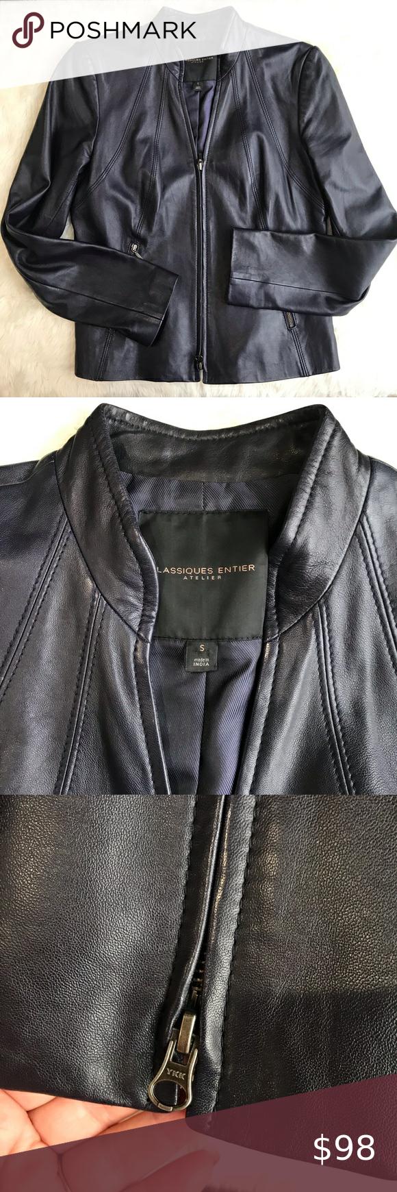 Classiques Entier Atelier Blue Leather Jacket In 2021 Blue Leather Jacket Vest Fashion Leather Jacket