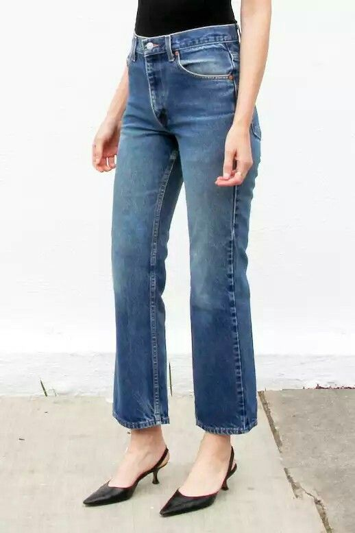 Crop flare jeans and kitten heels