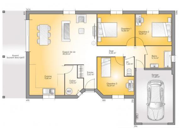 Modèle de maison OPEN RHONE PP 90LG DESIGN  Photo 1 LIFE - Plan De Maison De 100m2 Plein Pied