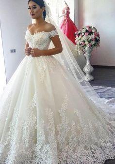 Off The Shoulder Sweep Train Short Sleeves Elegant A Line Lace Wedding Dress Wisebridal Com Fancy Wedding Dresses Ball Gown Wedding Dress Online Wedding Dress