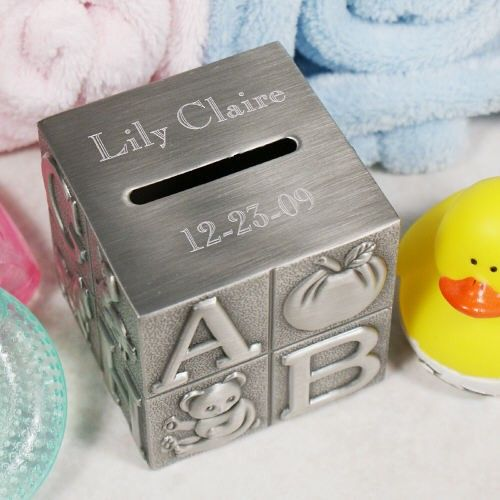 Your babys name and birth date are beautifully engraved on this timeless engraved baby keepsake bank