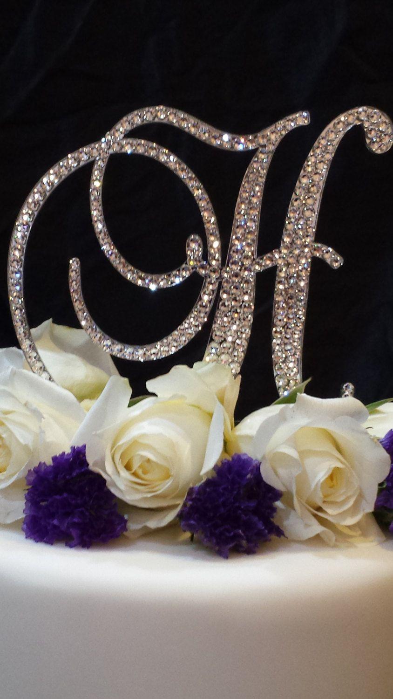 5 tall initial monogram wedding cake topper swarovski