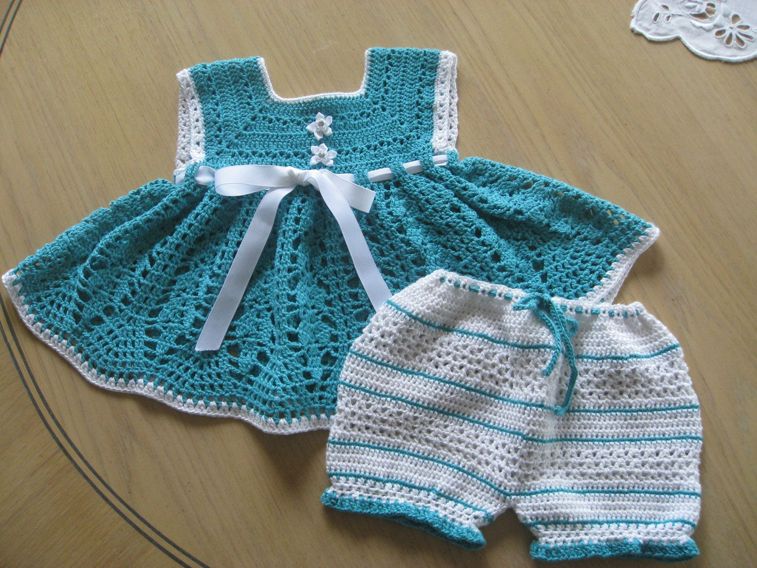 Crochet Pattern for Dress Bloomers Set, Sunsuit Playsuit for Baby ...