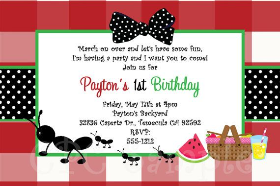 Ants on a picnic birthday invitation printable or printed picnic ants on a picnic birthday invitation printable or printed picnic party birthday invitations ants on a picnic party supplies filmwisefo