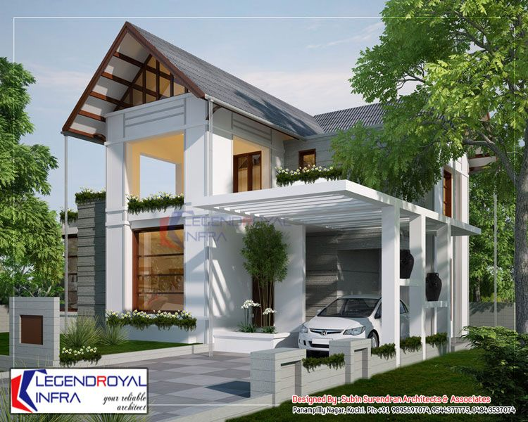 European style home sloping roof 1829 SqFt KERALA VILLAS