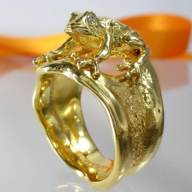 Diamantring gold  A735 Unikat Brillant Diamant Ring Frosch 925 Silber Gold vergol.Gr ...