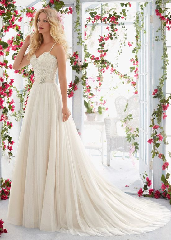 Elegant Sweetheart Sparkling Straps Beaded Lace Bridal Gown 2016 ...