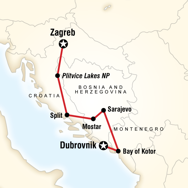 Map Of The Route For Discover The Balkans Travel Tours Balkan Mostar