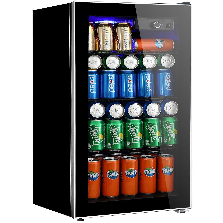 Beverage Refrigerator And Cooler 3 2 Cu Ft Drink Fridge With Glass Door For Soda Beer Or Drinks Fridge Beverage Refrigerator Beverage Center