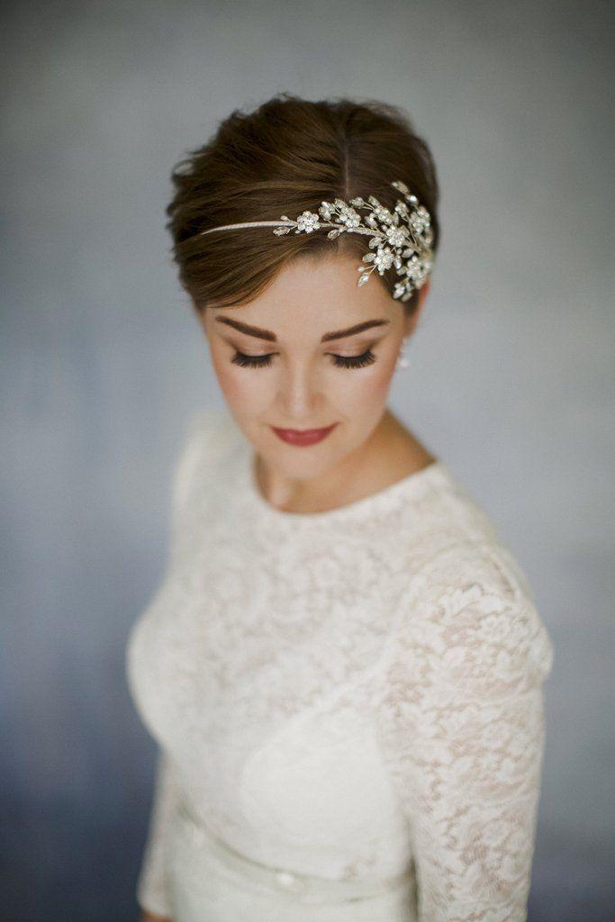 statement crystal vintage wedding headband for a short haired bride inspiration