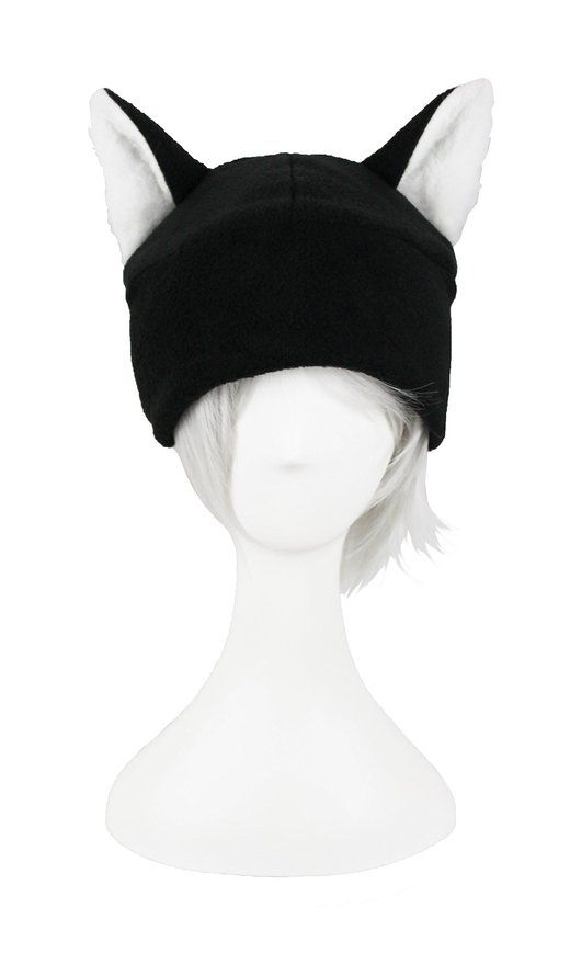 Mrawp Men\'s Black Fleece Cat Beanie Hat (Black with Arctic White ...