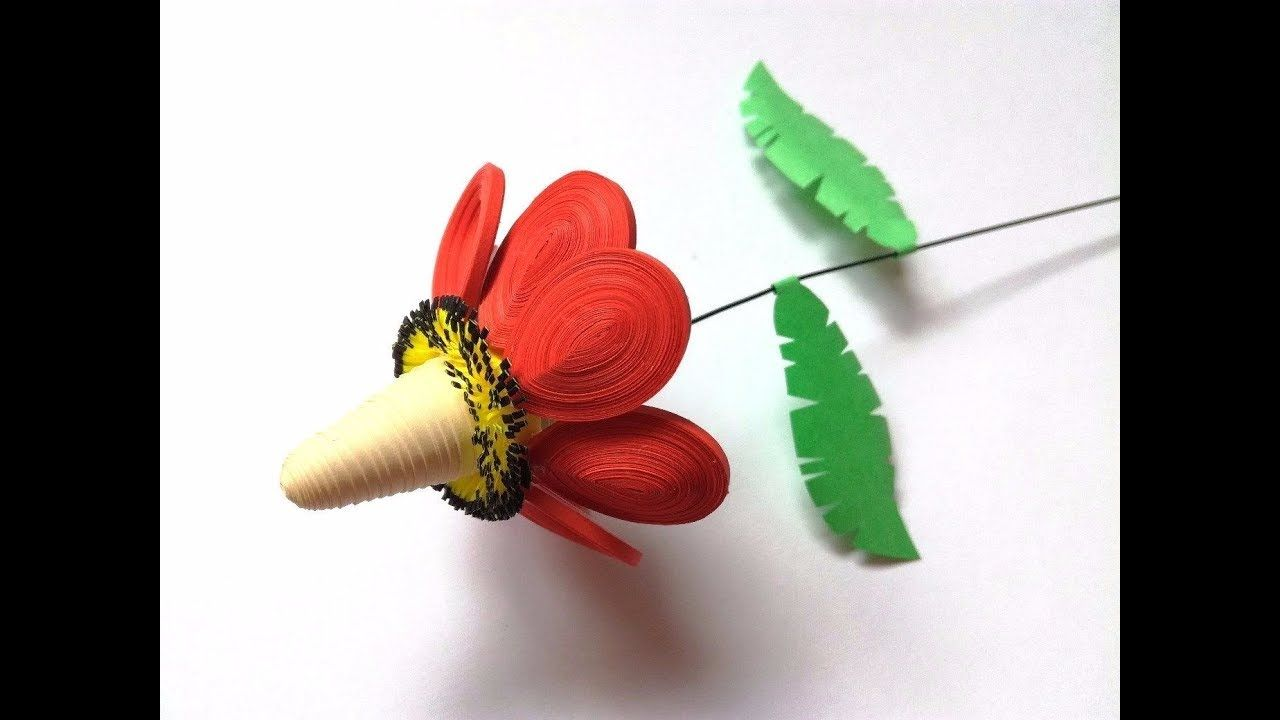 3d Tropical Flower Made Of Paper By Quilling Technique