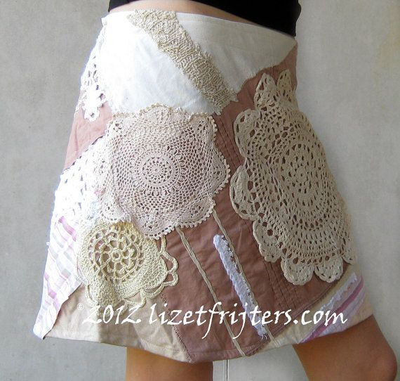 Beige, Cream and White Patchwork Skirt in Vintage and Recycled Materials - Hippy Bohemian Hip Skirt. $150.00, via Etsy.