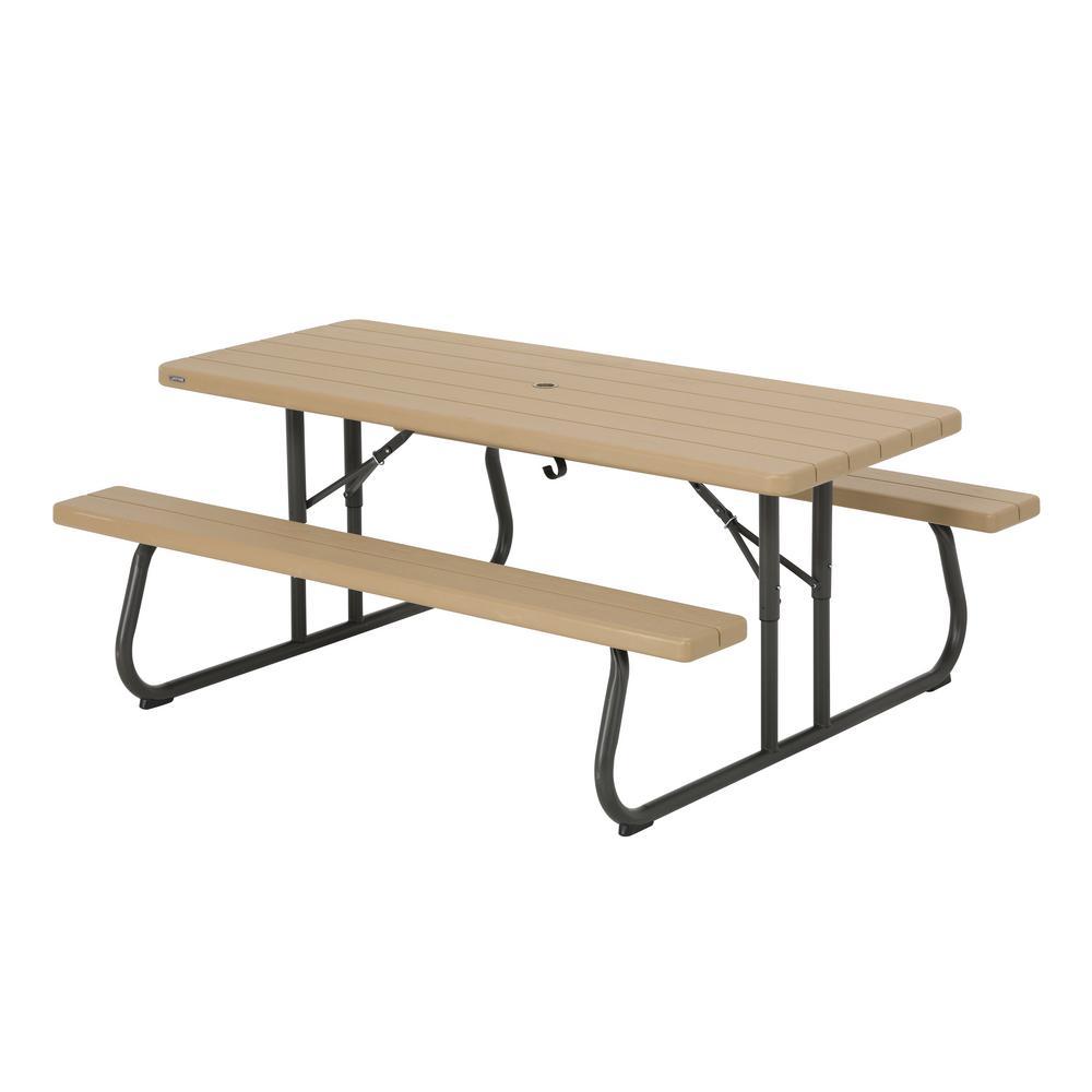 Lifetime 6 Ft Bronze Sand Resin Plastic Outdoor Folding Picnic Table Heather Beige Folding Picnic Table Kids Wooden Picnic Table Portable Picnic Table