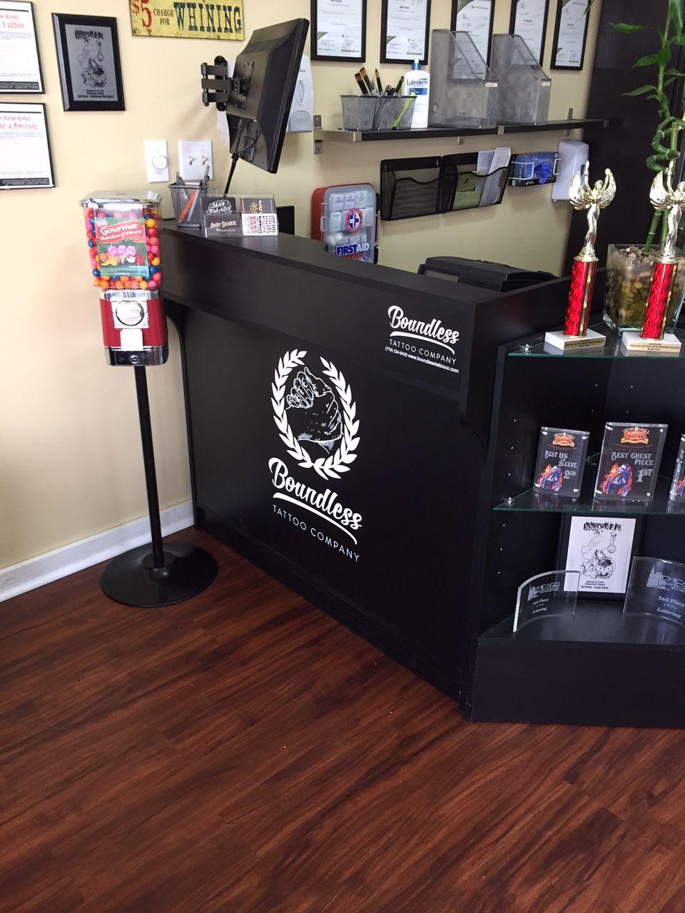 Front desk | Boundless Tattoo | Tattoo shop, Tattoos, Front desk