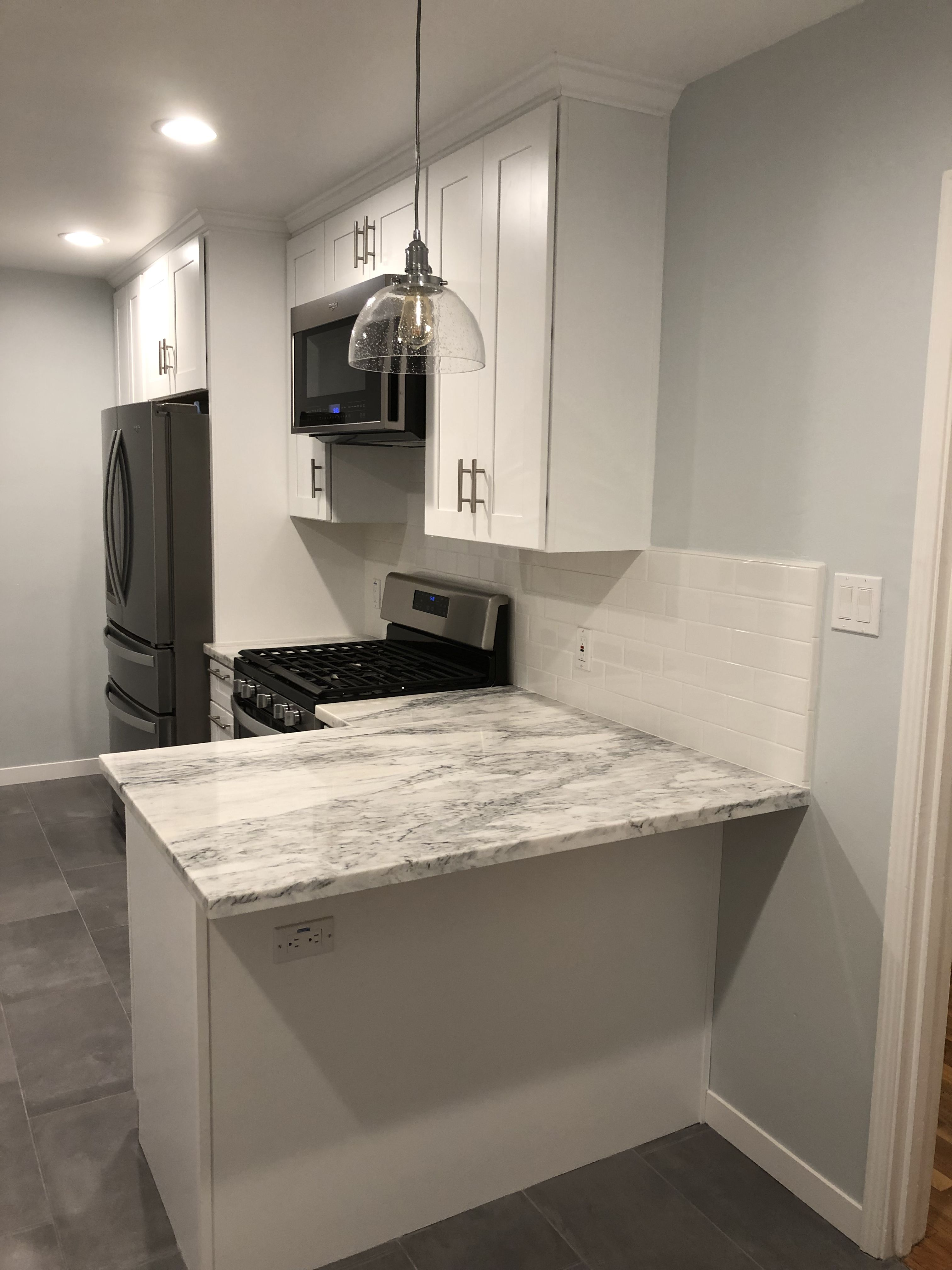 White And Gray Marble Countertops Grey Painted Kitchen Marble