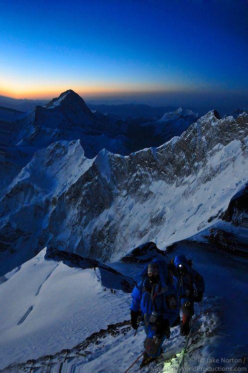 I want to climb it!! Bucket list!!!  Mount Everest climbing at sunset #mountain #mounteverest #sunset