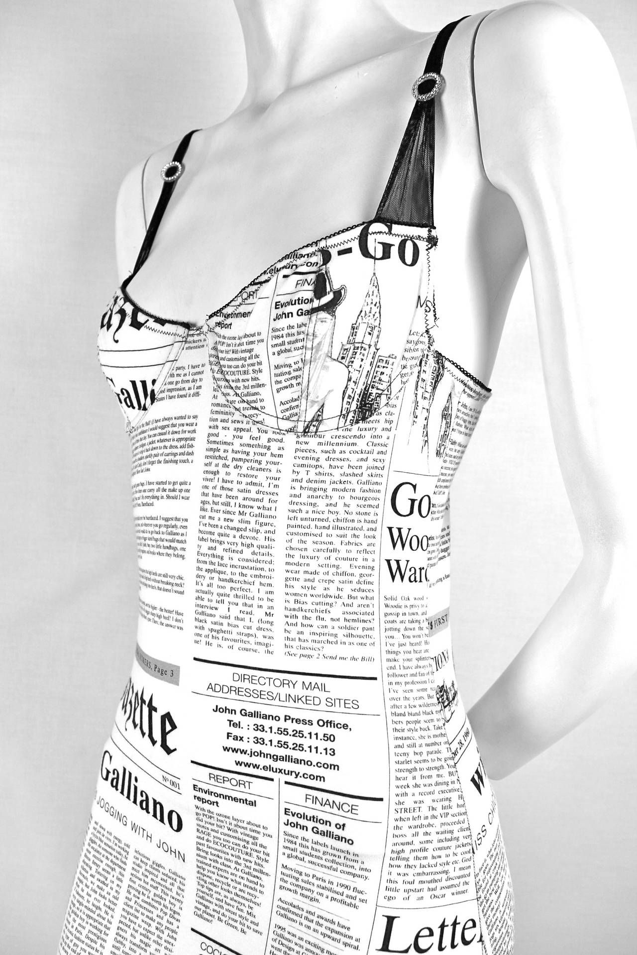 f5792c59 1990s John Galliano Newspaper Print Dress | Vintage Fashion-1990s ...