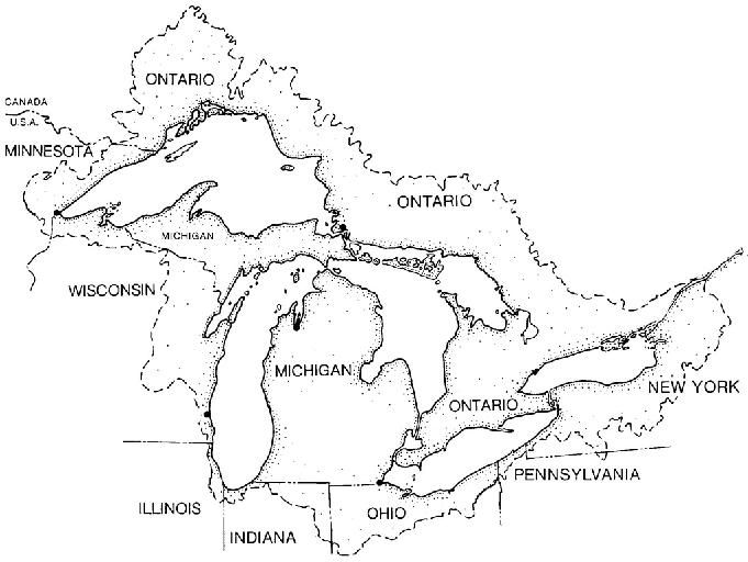 Great Lakes outline map (paddle to the sea)  Create a key