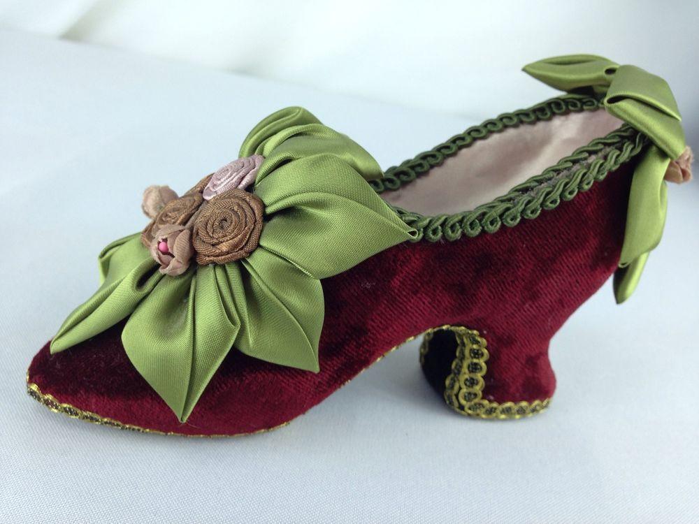 "Katherins Collection Mini Burgundy Velvet Ribbon Roses Victorian Style Shoe 6.5"""
