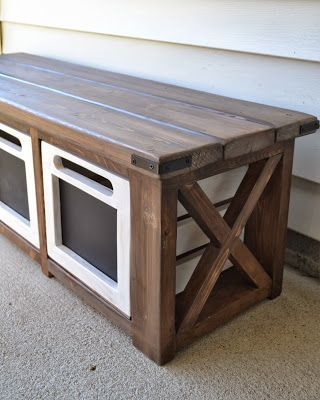 Entryway Bench With Chalkboard Crates Diy Storage Bench Outdoor