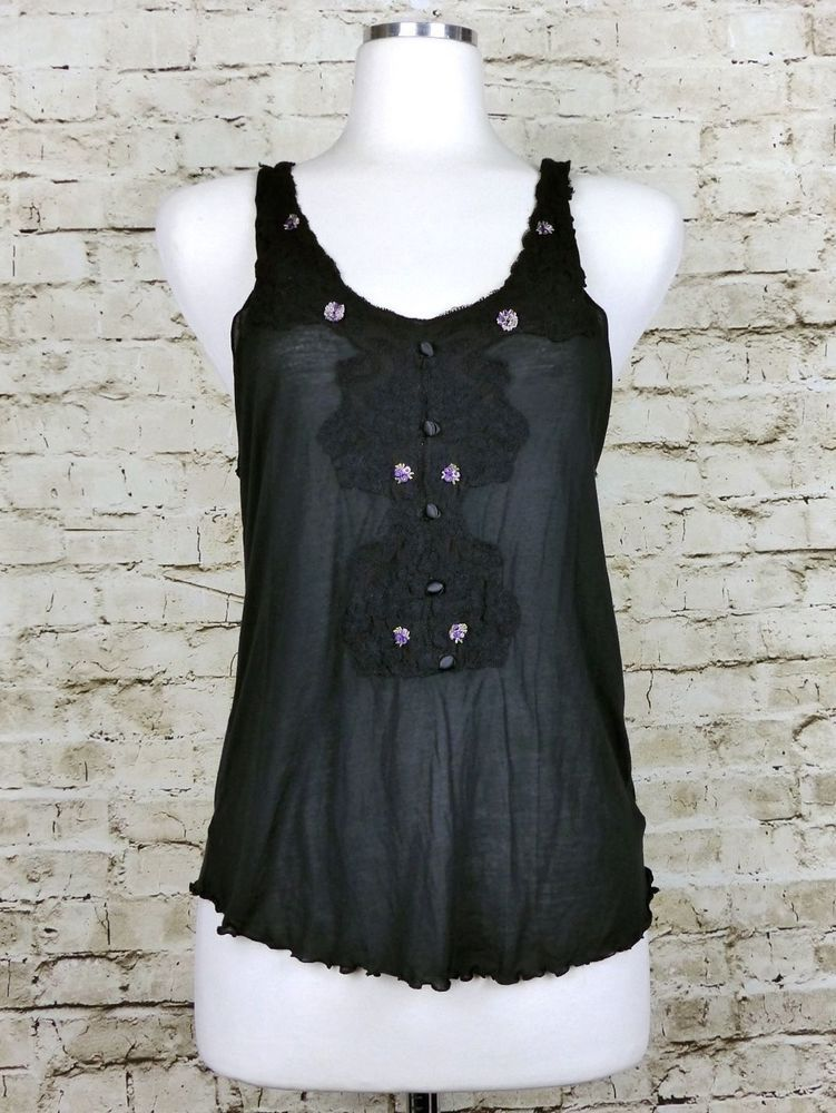 8649a9edf2e Free People Intimately Black Lace Trim Tank Top Size S  FreePeople   TankCami  Casual