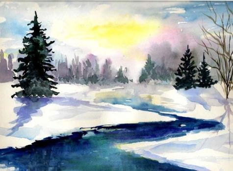 Winter stream , watercolor 8x10 copyrighted 2009  Nita Leger Casey -- Nita Leger Casey