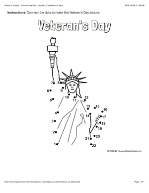 Veteran's Day connect the dots page with the Statue of
