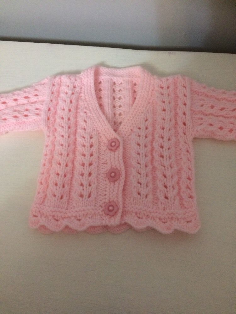 New Hand Knitted Girls Cardigan 0-3 Months Girls' Clothing (0-24 Months)