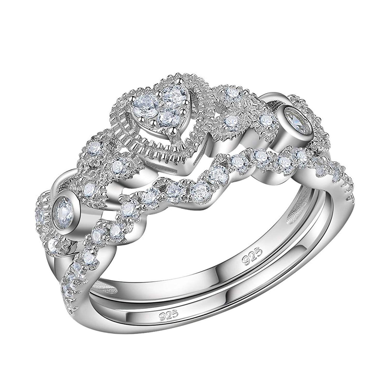Newshe 0.5ct Heart White Cz 925 Sterling Silver Wedding