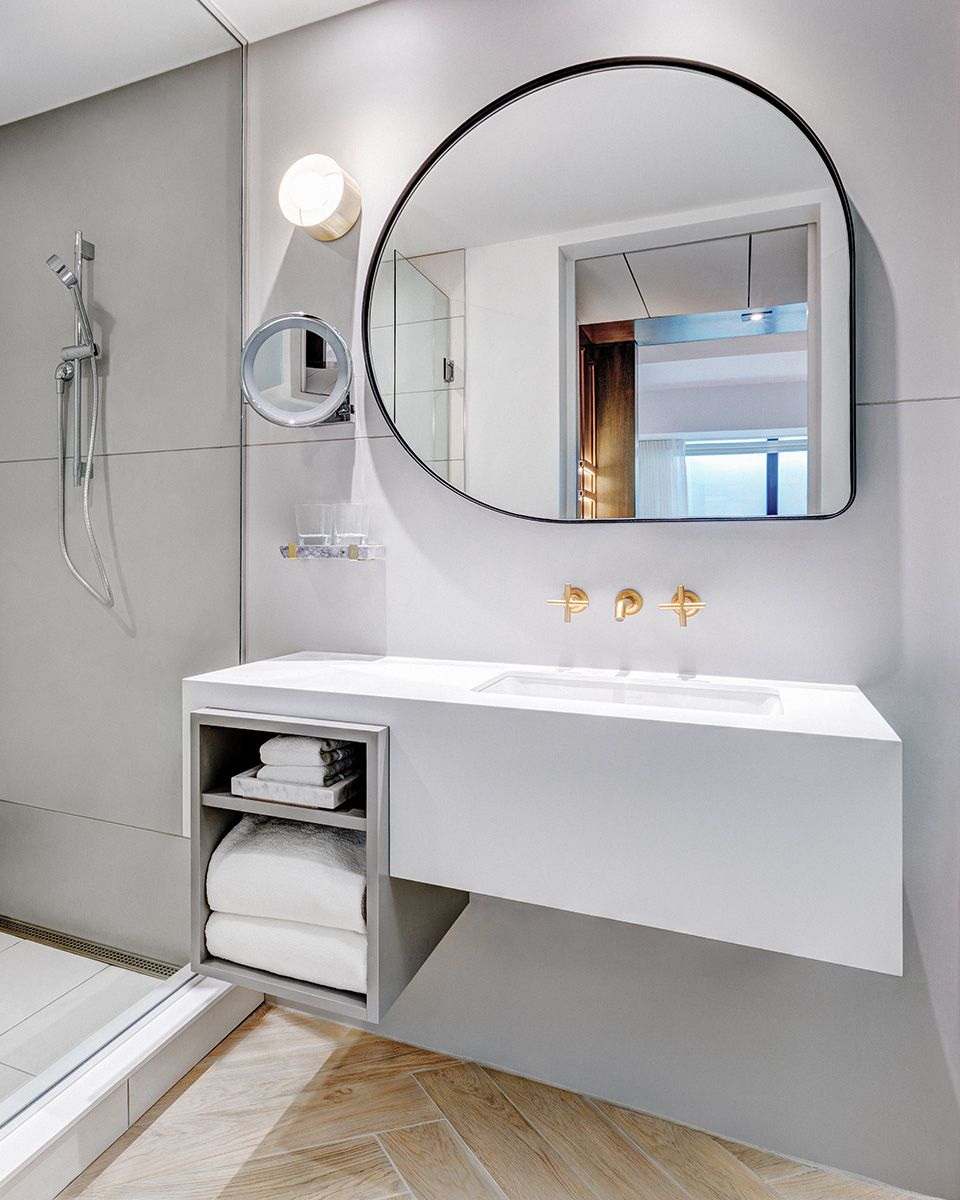 Abstract Shaped Mirror Andaz Hotel By Mason Studio Bath
