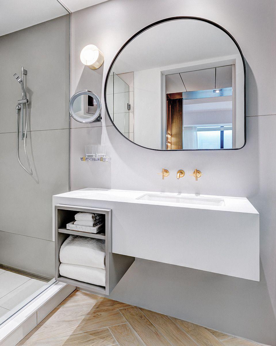 Abstract Shaped Mirror Andaz Hotel By Mason Studio Bathroom