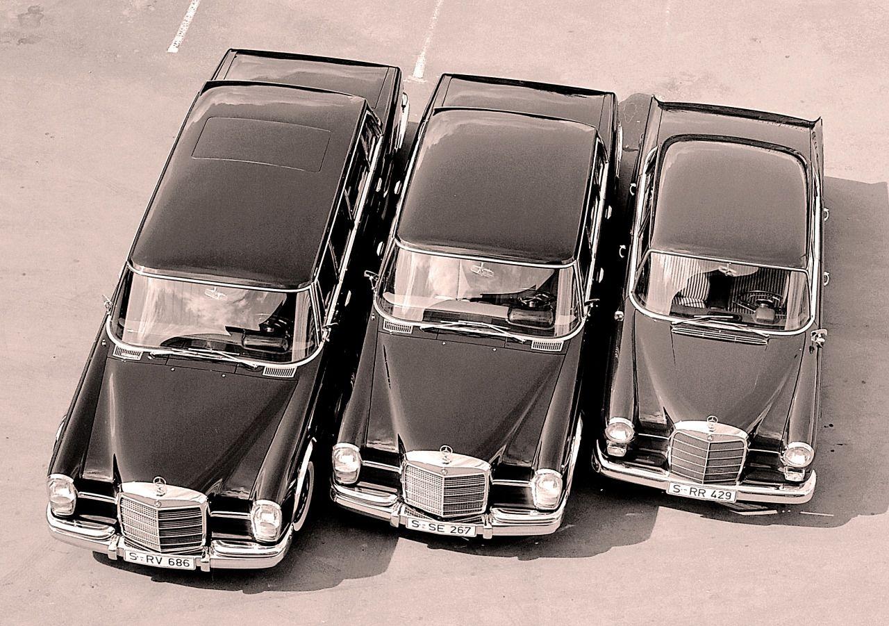 Left ro right 600 Pullman limousine, 600 limousine, W110.