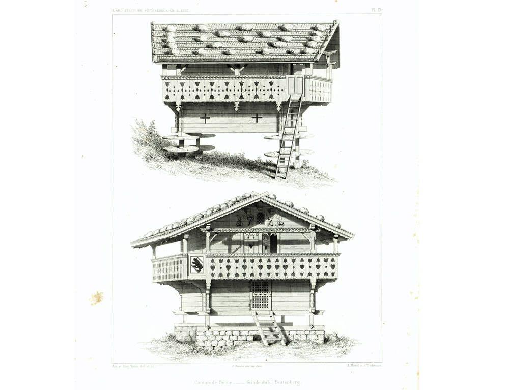 1839 Plans Swiss Chalet Cottage Architecture Print Antique Engraving Original Authentic Print Swiss Chalet Chalet Architectural Prints
