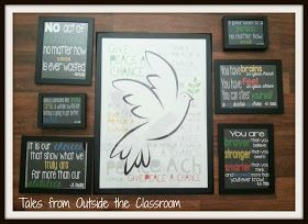 Using children's book quotes to build a gallery wall in a classroom.